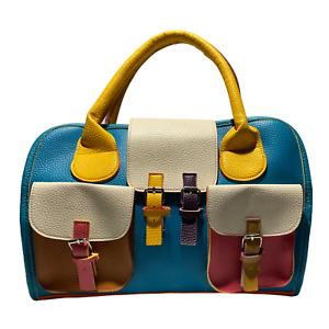 Multi-Coloured Woman's Faux Leather HandBag - Satchel. Bag | See Description