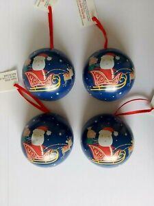 X4 Fillable Tin Christmas Baubles. Santa Sleigh Fillable Christmas Tree Baubles