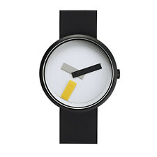 "Projects Watches ""Suprematism"" Acier IP Noir Blanc Silicon Montre Unisex"