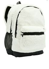 New Victoria's Secret PINK Backpack Sherpa Snow White Fuzzy Bag NWT