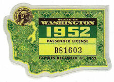 1952 WASHINGTON Registration WINDSHIELD Sticker Decal tab/tag PASSENGER/CAR -New