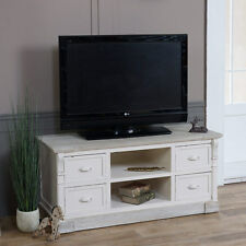 Lyon Range TV Cabinet Cream Limed Distressed French Chic Drawers Shelves Home