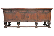 Spectacular Large Gothic Revival Linen Fold Thick Oak Sideboard or Buffet Circa