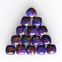 Details about  /Lot Natural Purple Copper Turquoise 16X16 mm Cushion Cabochon Loose Gemstone