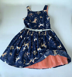 GIRLS PARTY DRESS 7-8 YEARS BOPSTER & MIMI CIRCUS PRINT LINED WITH GLITTER BELT