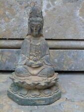 bouddha femme sur fleur de lotus en bronze pat antique sur un socle ...