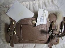 UGG Bag Wristlet Clutch Vintage Silver Chestnut Sheepskin Shearling NEW $250