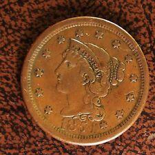 1854 Braided Hair Large Cent, N-19, Nice Obverse Die Crack (Coin #2)