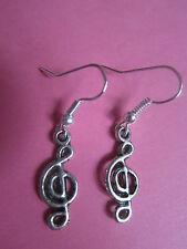 Vintage Look Silver Tone I Love Music Treble Clef Charm Earrings New