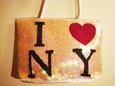I LOVE Heart New York NY Tote Purse Handbag Sequins BLING! New
