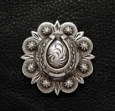 WESTERN HEADSDALL SADDLE TACK ANTIQUE HORSE SHOE BERRY CONCHO 1 inch screw back