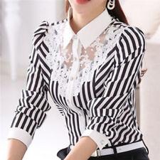 Women Fashion Shirt Long Sleeve Plus Size Stripe Top Autumn Ladies RSBD XXXXL