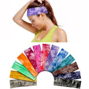 New Women Girl Yoga Tie-Dye Cotton Elastic Stretch Hair Band Headband WideTurban