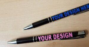 Personalised Customised Printed Cut Vinyl Black Metal Dual Trim Promo Work Pen