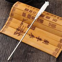 Chinese Classic Women Hairpin Hair Accessories White Jade Retro Stick 165mm