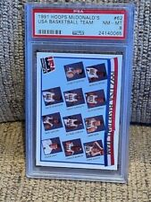 1991 NBA Hoops McDonald's #62 - USA Basketball Team - PSA 8 - w/ MICHAEL JORDAN