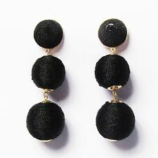3-TIERS OF BLACK SILKY SHEEN DISCO BALL DROP STATEMENT EARRINGS