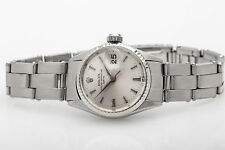 Estate $6000 18k White Gold SS Ladies Rolex DATE Dress Oyster Watch & BOX WARRTY