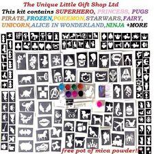 Glitter Tattoo Kit Boy Girl 100 Large 120 Mini Stencils 3 Glues 8 Glitters