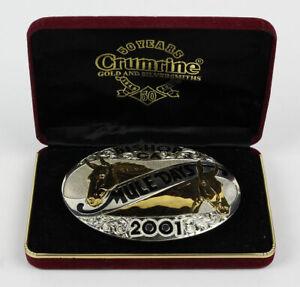 2001 Crumrine Mule Days Bishop, CA LTD Sterling Belt Buckle with 22K Overlay