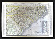 1904 George Cram Railroad Map North South Carolina Charleston Raleigh Columbus