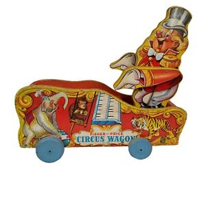 1940s Fisher Price Circus Wagon Pull Toy Arms Move Plays Music #156 Incomplete