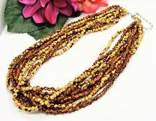 Nice! 10 Strand Silvertone Tan & Caramel Mottled Little Round Beads Necklace!