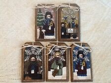 5 COUNTRY SNOWMAN Ornaments/Hang Tags/GiftTags HANDCRAFTED CHRISTMAS SETu