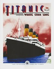 Titanic art deco print, small poster 8x10 paper ready for framing w/Titanic coal