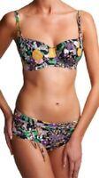 FREYA Adelphi BIKINI Top & Shorty Brief SET Black Purple Floral NEW