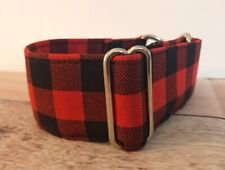 "Buffalo Plaid Greyhound Martingale, 1.5"" Wide Red Dog Collar For Sighthounds"