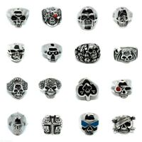 Men Ring Stainless Steel Big Skull Rings Metal Gothic Biker Punk Hip Hop