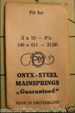 "Vintage NOS PM ONYX-STEEL Watch Mainspring 5 X 10 X 8 1/2"" Metric 140 X 011 X 21"