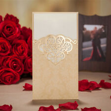 50pcs Gold Vertical Laser Cut Wedding Bridal Shower Invitation Card Red Envelope