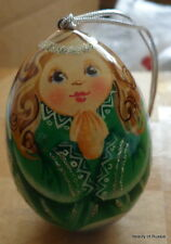 """ornament Russian hand painted wood egg-  angel .2.7 """"  green"""