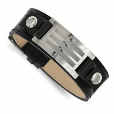 Buckle with Stone Finish Bracelet Chisel Stainless Steel Black Leather with