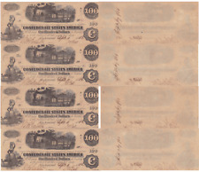 Sept 11 1862 $100 Confederate States 4 Note Lot T-40 Cr-300 Diffused Steam