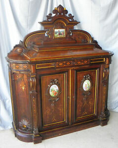 Antique Victorian Rosewood Credenza - Renaissance Revival - Marble - Fancy