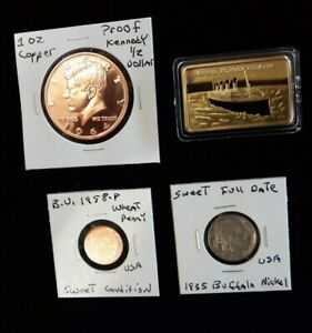 coin LOT proof kennedy half 1 oz copper round 1oz gold plated bar NO JUNK DRAWER