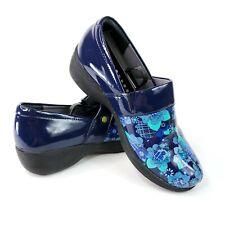 Work Wonders by Dansko Womens Size 38 Blue Floral Slip Resistant Nursing Clogs