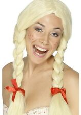Dutch Girl Schoolgirl School Girl Fancy Dress Wig Blonde with Plaits by Smiffys