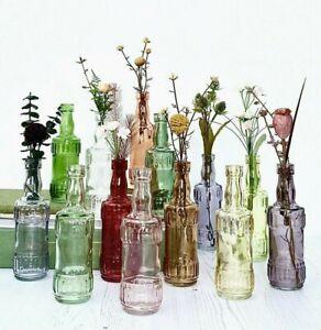Small Coloured Glass Bottles Vintage Potion Flower Bud Vase Wedding Table Decor
