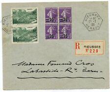 BLOC DE 4 // TYPE SEMEUSE / RECOMMANDEE // RIEUSSEC / LABASTIDE ROUAIROUX 1939