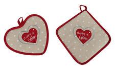 Idea Regalo di Natale Due presine Shabby cuori beige