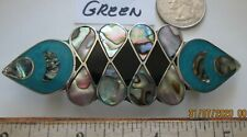 Vintage ALPACA  and ABALONE HAIR BARRETTE CLIP -Mexico