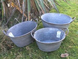 3X Vintage Oval Grey Zinc Galvanised Metal Garden Flower Planter/Tub/Pot/Bucket