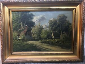 Antique oil painting on canvas, European, circa 1800, farm with chickens