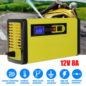 12V 8A Intelligent Battery Charger Pulse Repair For Car Motorcycle Wet Lead