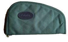 """CABELA'S Pistol Case 13"""" Padded Green Canvas-Flannel Lined *EXCELLENT*"""