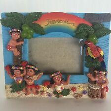 VTG Hawaii Picture Photo Frame Aloha Ceramic Hula Girl Palm Trees Beach Paradise
